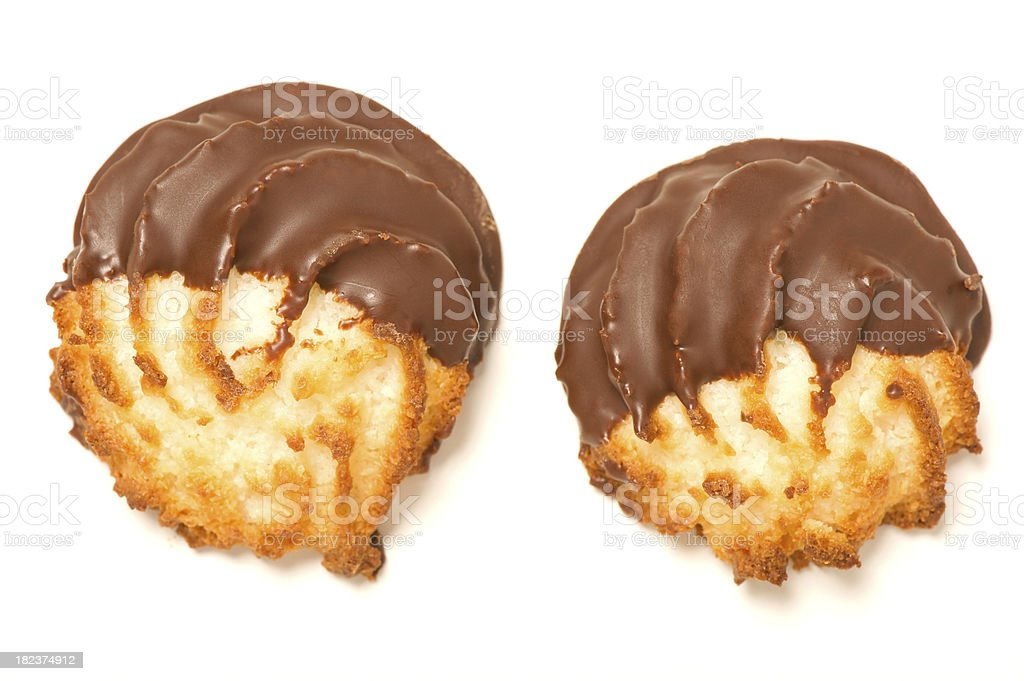 Chocolate Dipped Coconut Macaroon Cookies stock photo