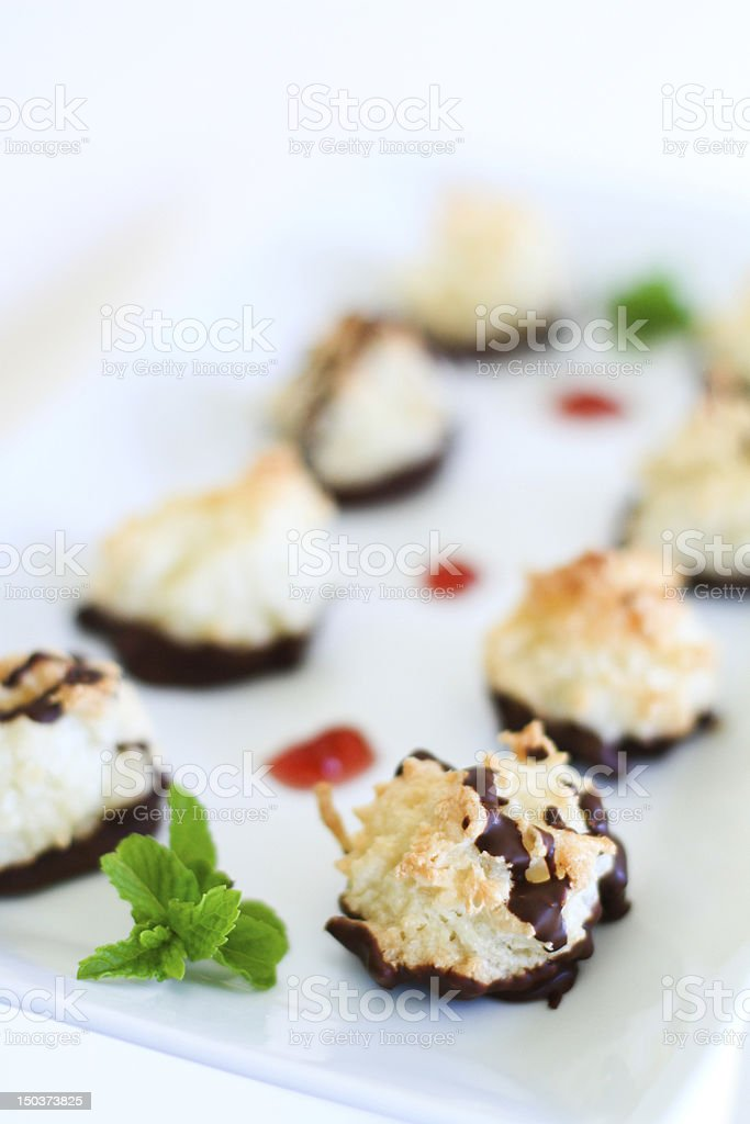 Chocolate Dipped Coconut Macaroons stock photo