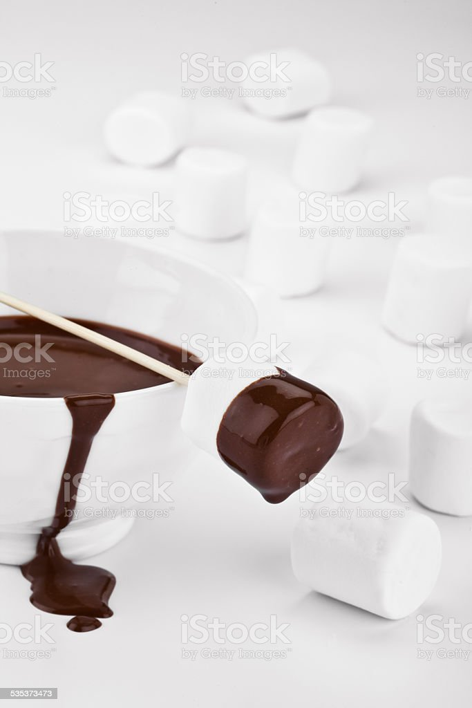 chocolate dipped marshmallows stock photo