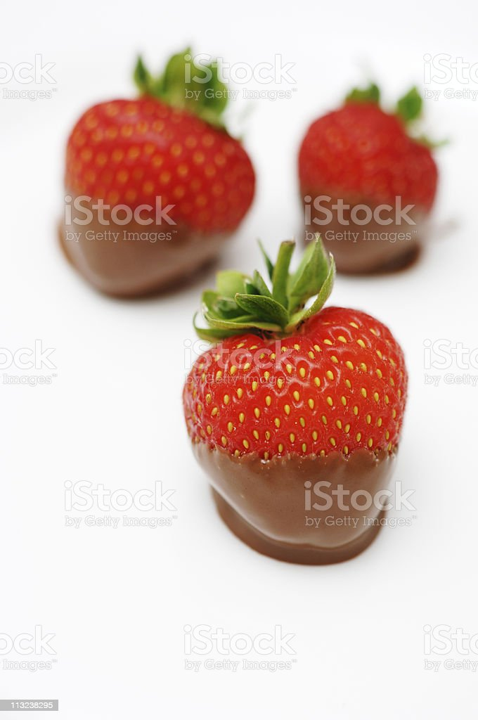 chocolate dipped strawberries on a white plate royalty-free stock photo