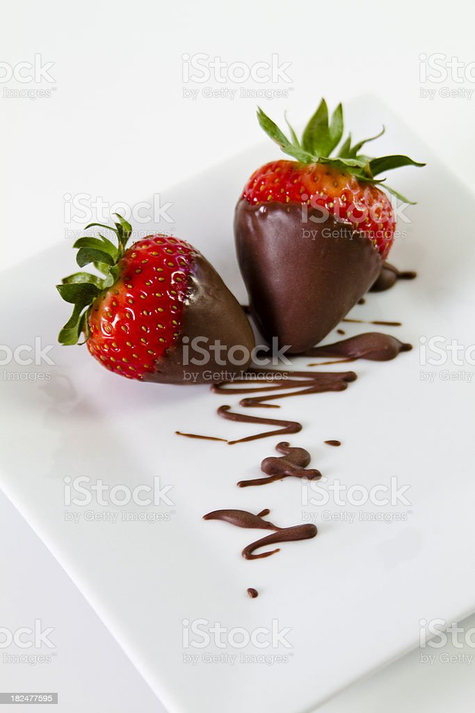 Chocolate dipped strawberries stock photo