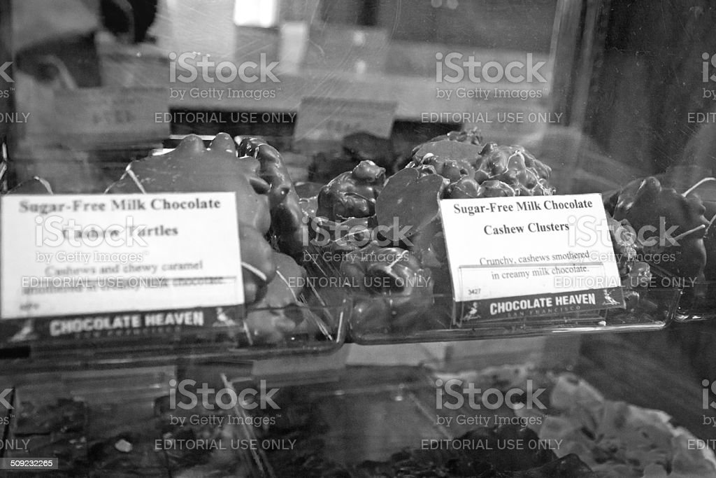 Chocolate display in a shop window stock photo