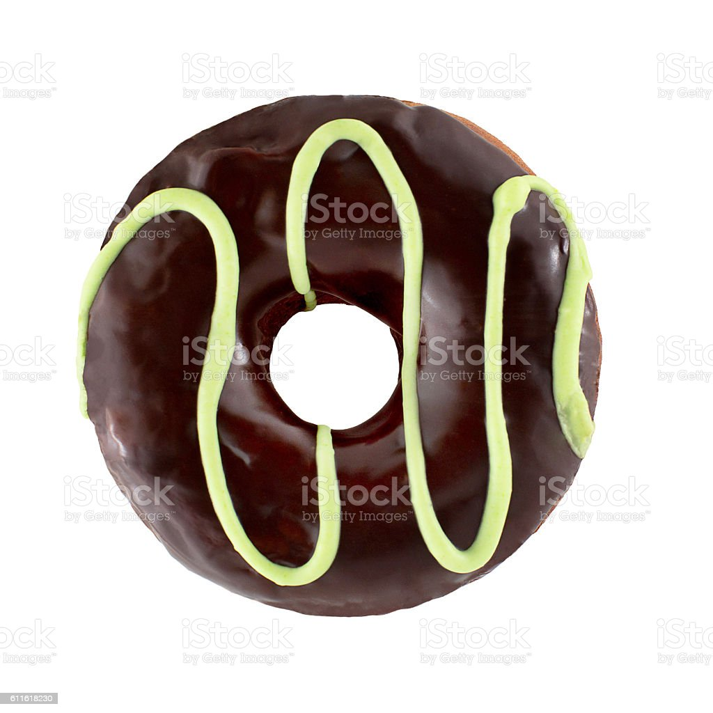 Chocolate donut isoalted on a white background stock photo