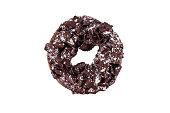 Chocolate donut on white background