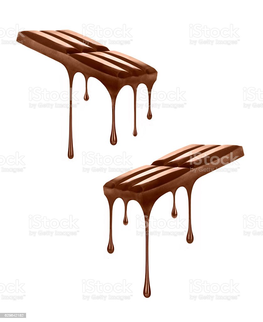 chocolate dripping from chocolate bars isolated on white stock photo