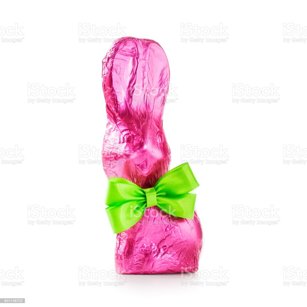 Chocolate easter bunny with bow stock photo