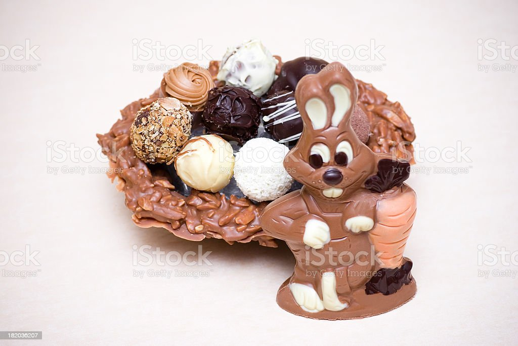 Chocolate Easter Bunny with Truffle Nest royalty-free stock photo
