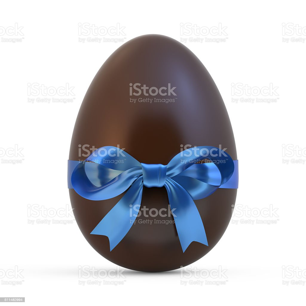 chocolate easter egg with blue ribbon on white background stock photo