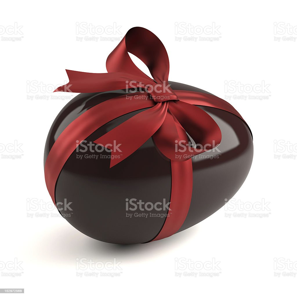 chocolate easter egg with red ribbon royalty-free stock photo