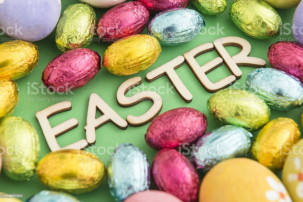 Chocolate easter eggs composition royalty-free stock photo
