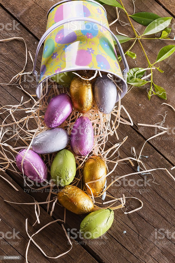 Chocolate Easter eggs in a Easter themed basket stock photo
