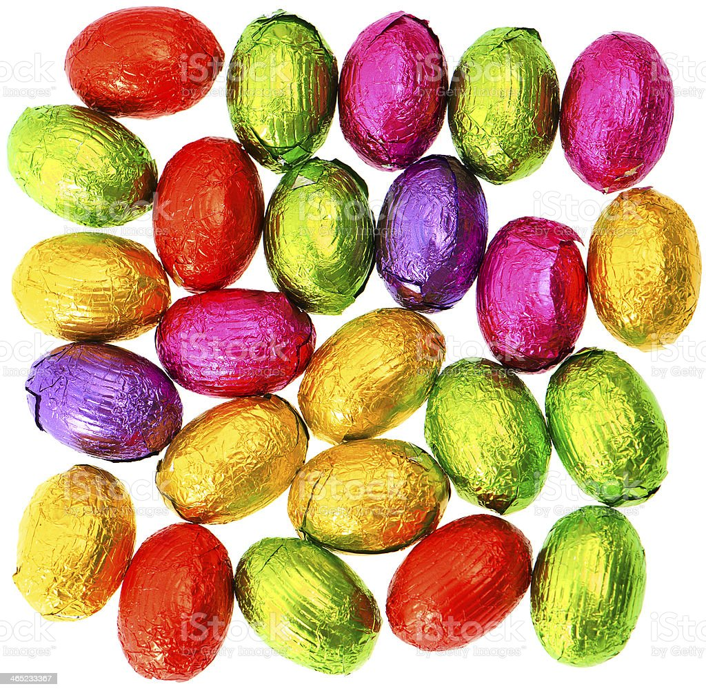 chocolate easter eggs in colorful foil stock photo