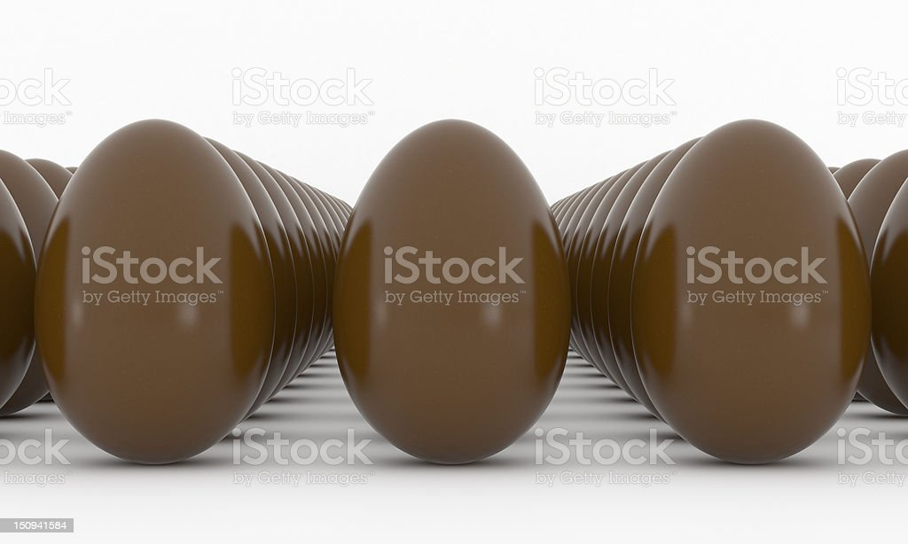 Chocolate Easter Eggs in line royalty-free stock photo