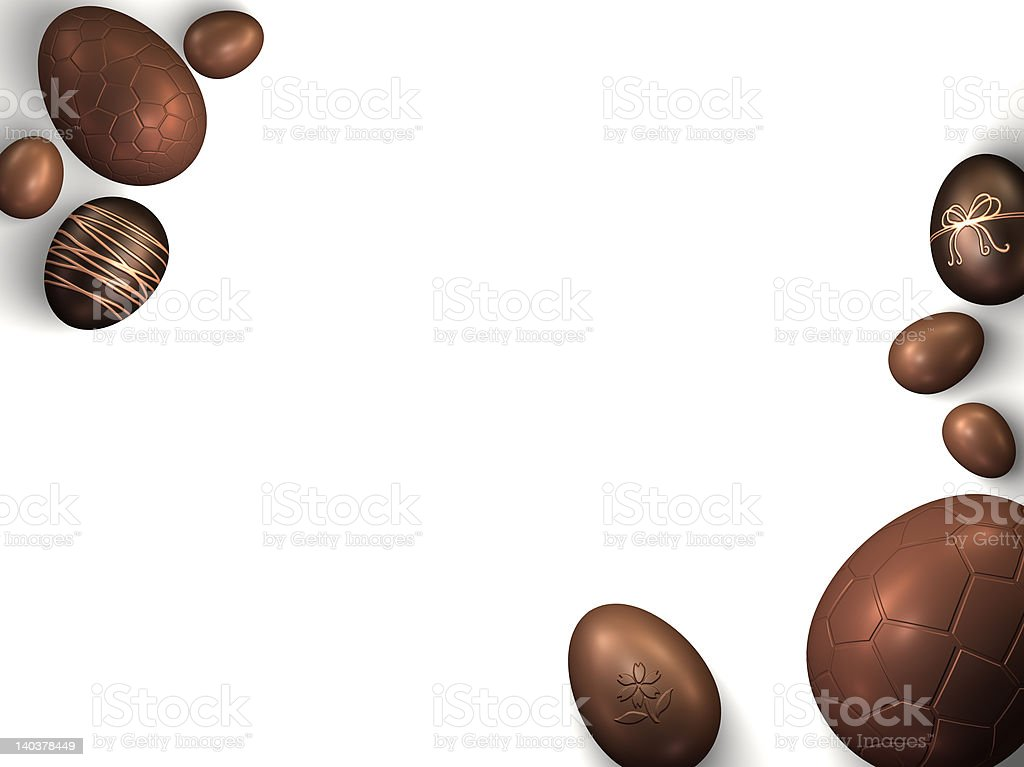 Chocolate Easter Eggs on a white background royalty-free stock photo
