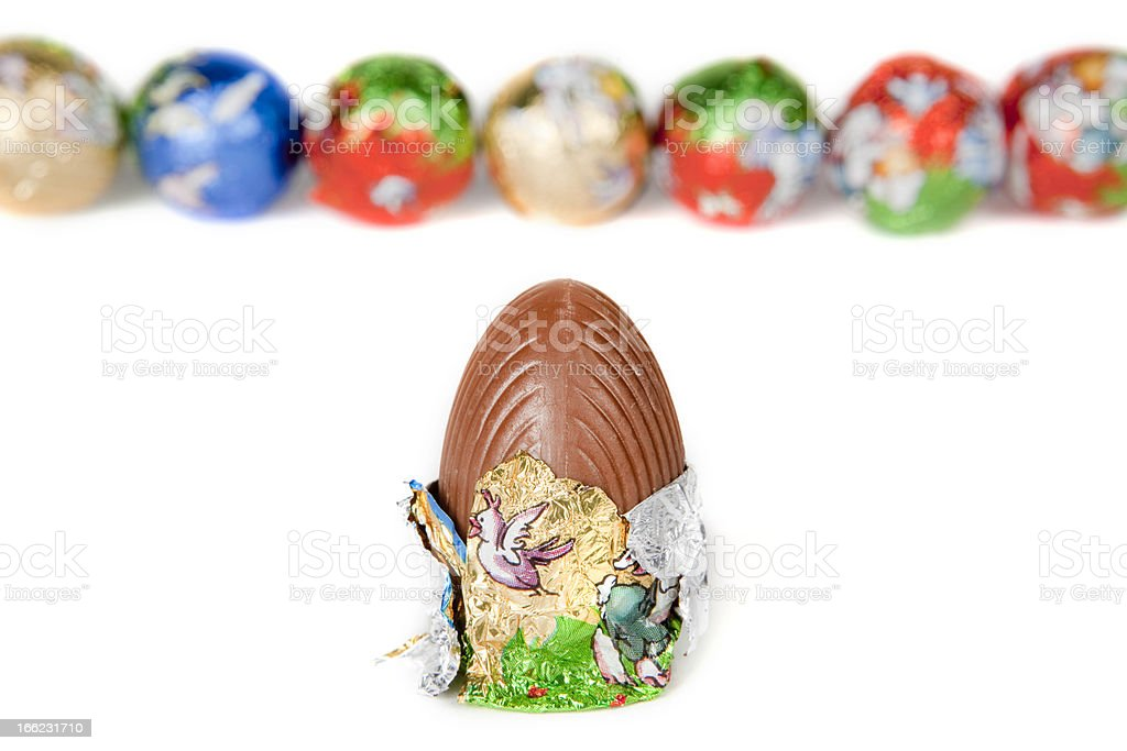Chocolate easter eggs royalty-free stock photo