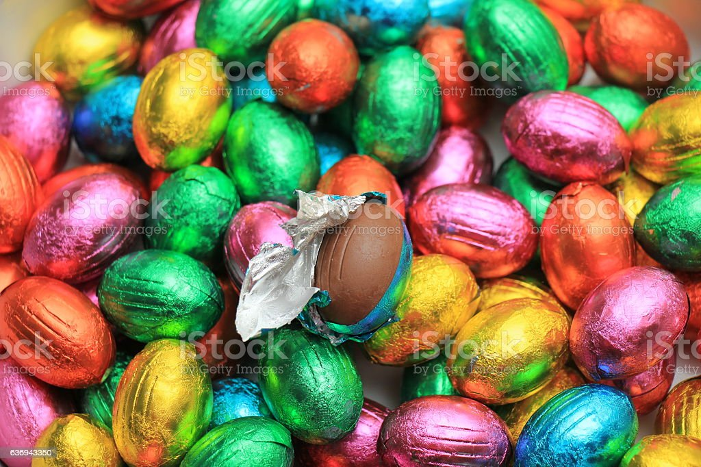 Chocolate easter eggs stock photo