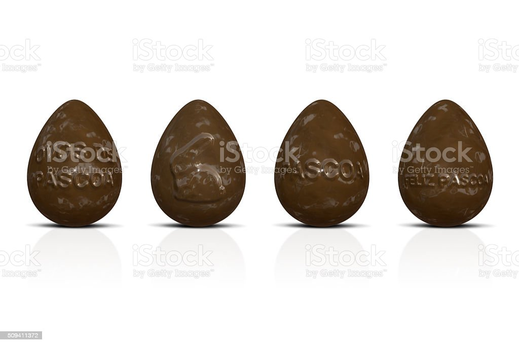 Chocolate Easter eggs with texts stock photo