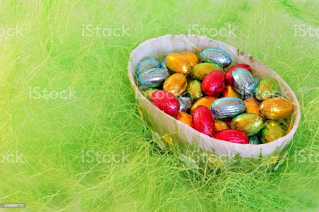 Chocolate eggs in the bowl stock photo