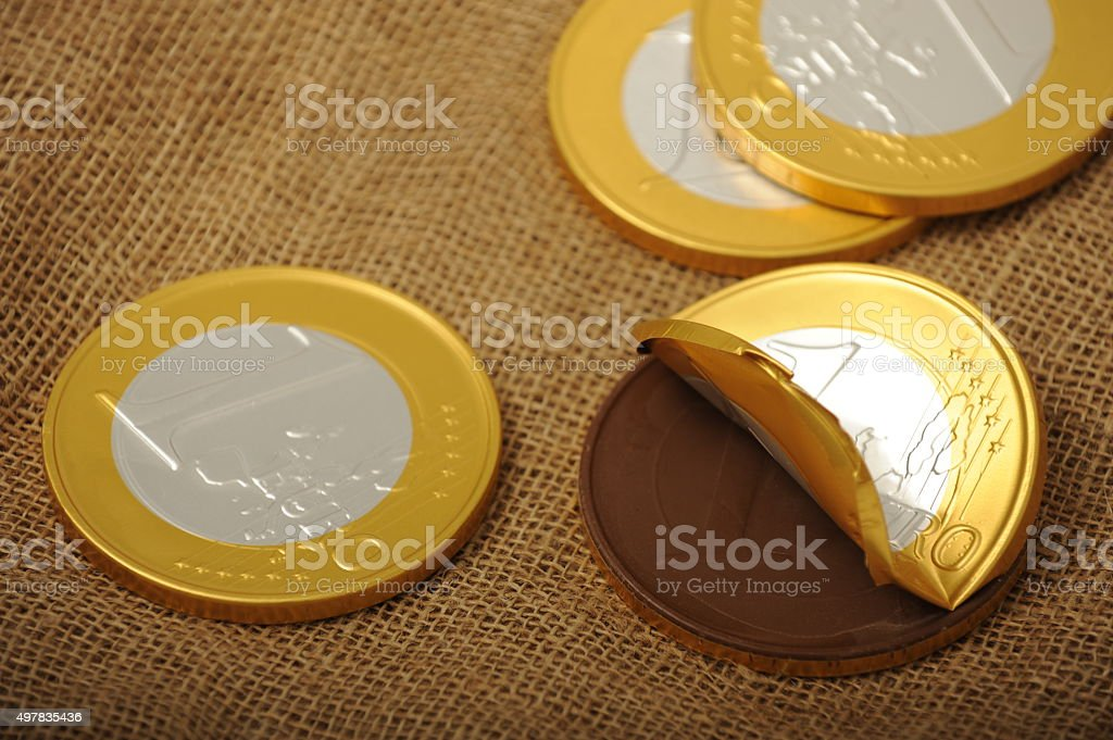 Chocolate euro coins stock photo