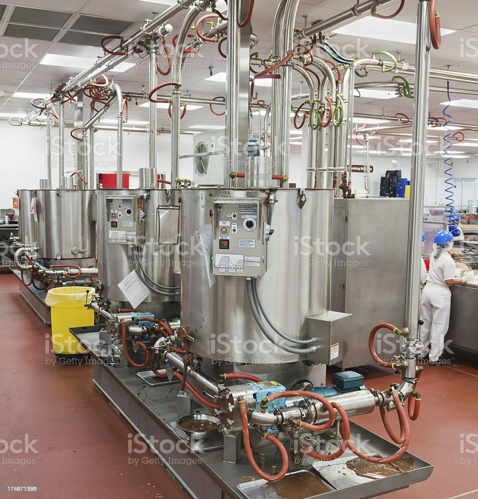 Chocolate Factory Melting Tanks stock photo