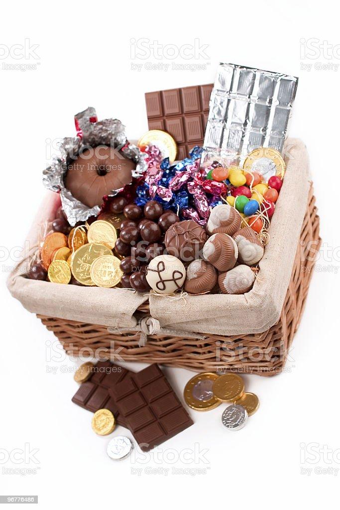 Chocolate Filled Basket stock photo
