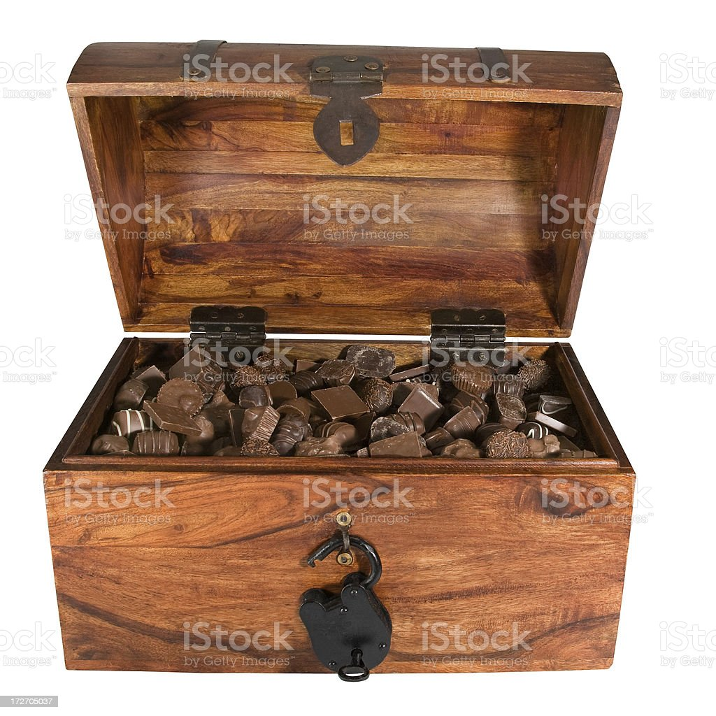 chocolate filled treasure chest -clipping path royalty-free stock photo
