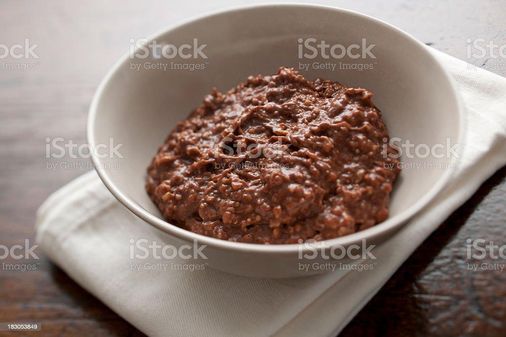 Chocolate flavoured oatmeal (porridge) stock photo
