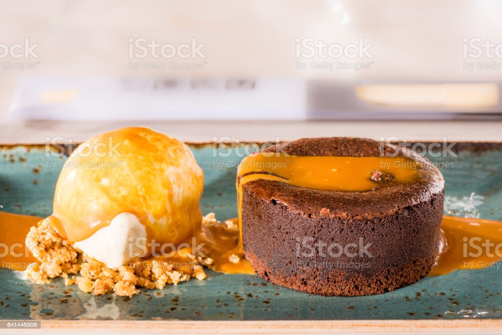 Chocolate coulant stock photo