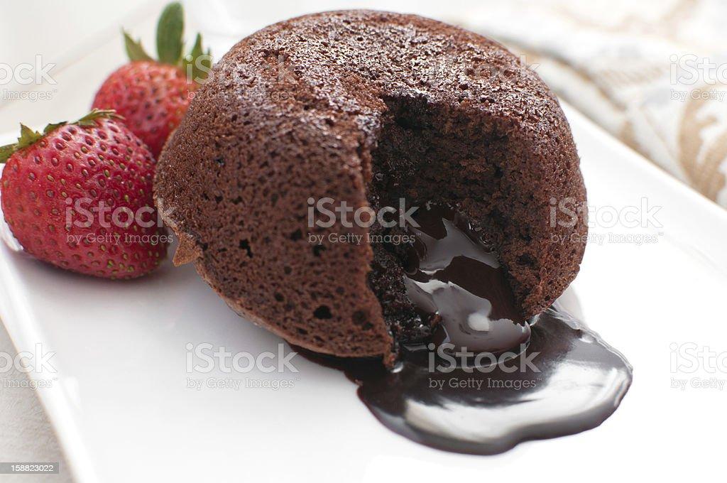 Chocolate fondant lava cake stock photo