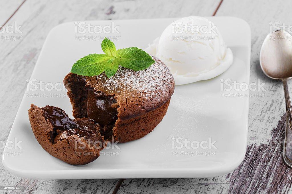 chocolate fondant stock photo