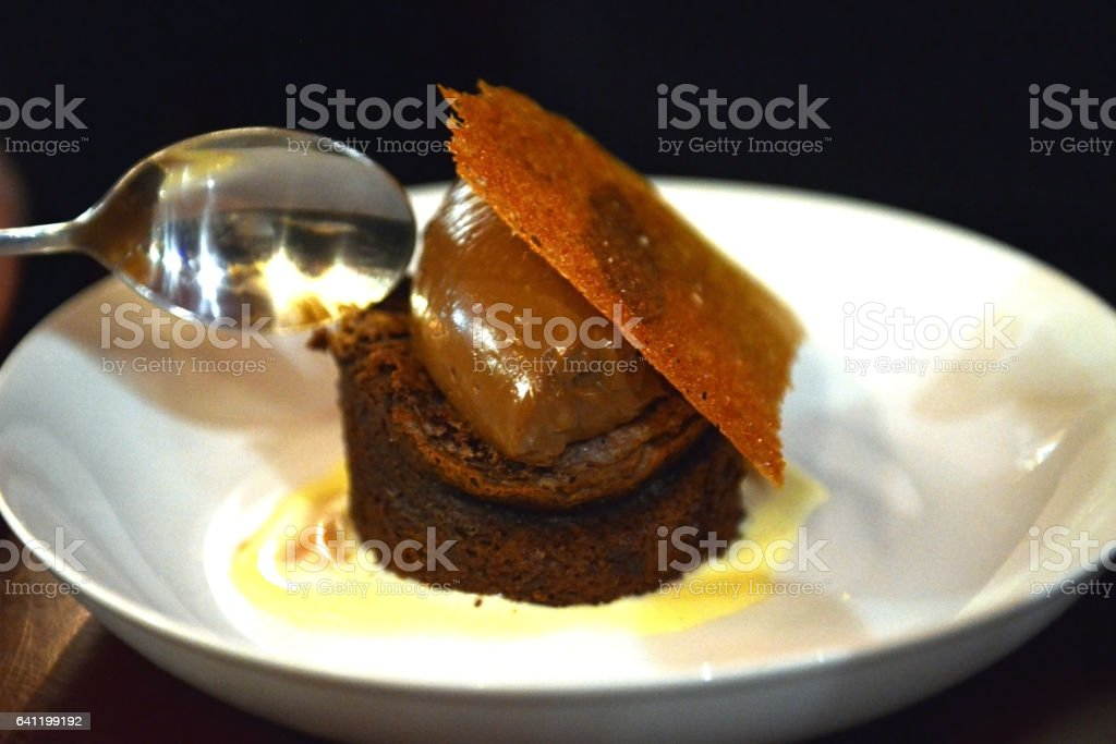 Chocolate Fondant with Ice cream on a wihte plate stock photo