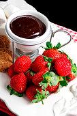 Chocolate Fondue with fresh strawberries