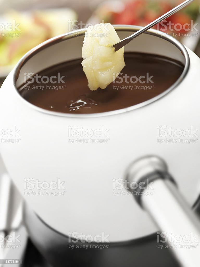 Chocolate Fondue with Pineapple stock photo