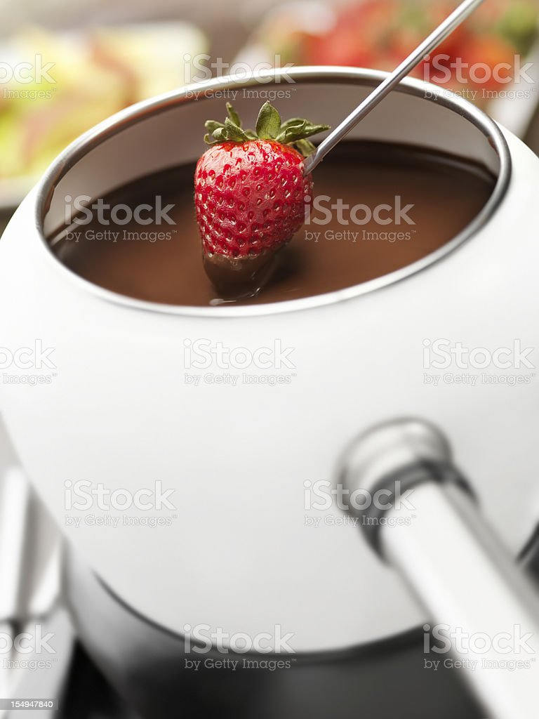 Chocolate Fondue with Strawberries stock photo