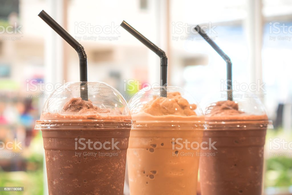 Chocolate Frappe and Frappuccino on wood table stock photo