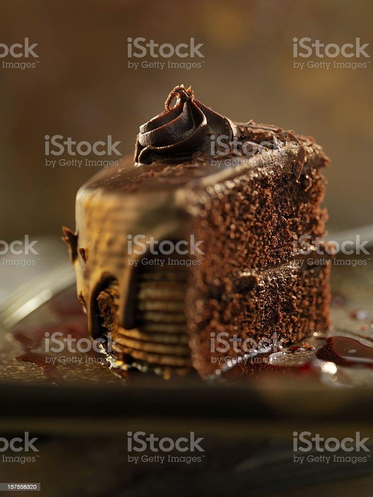 Chocolate Fudge Cake with Raspberry Sauce stock photo