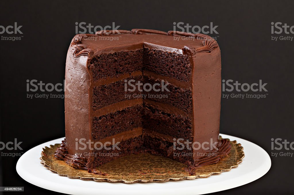 Chocolate Fudge Cake With Slice Missing stock photo