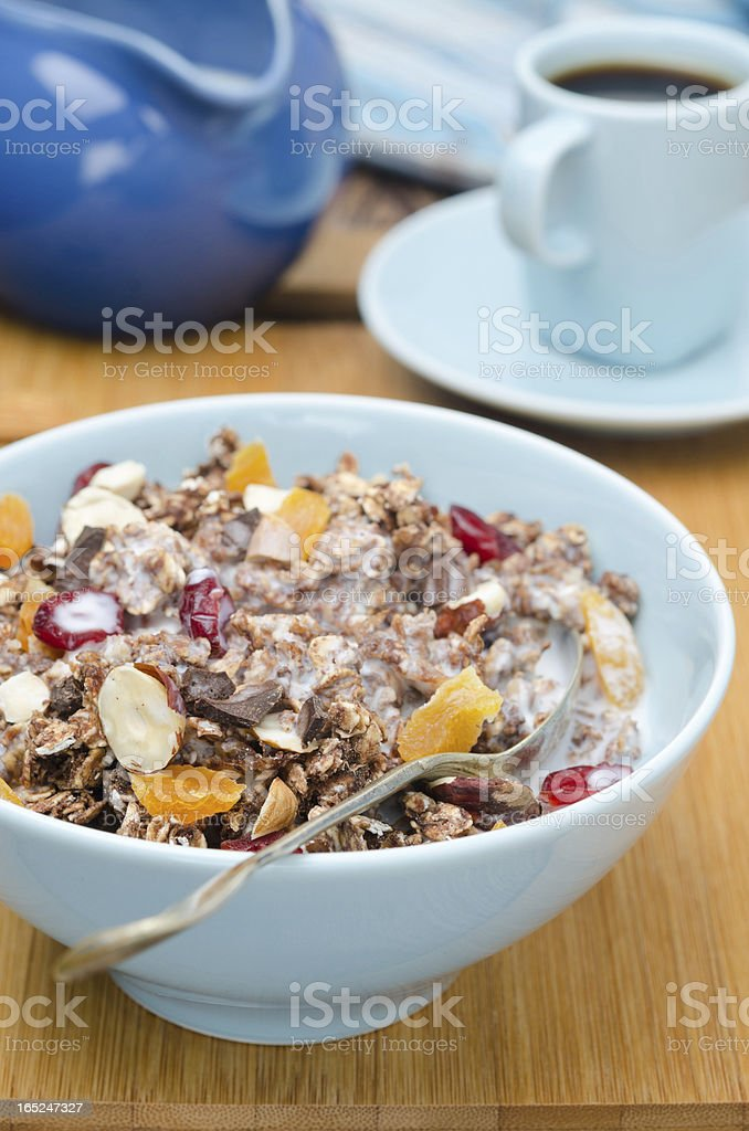 Chocolate granola with nuts, dried fruit and milk closeup royalty-free stock photo