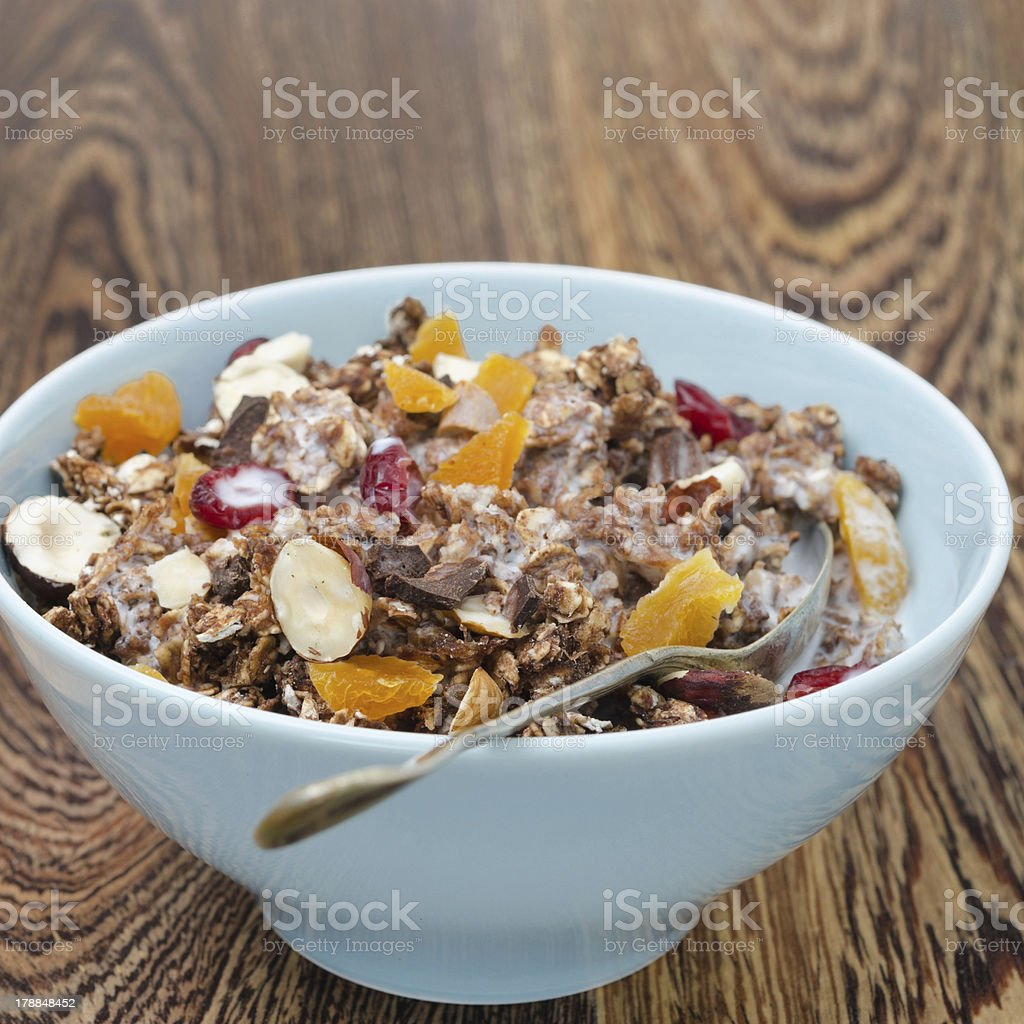 Chocolate granola with nuts, dried fruit and yogurt royalty-free stock photo