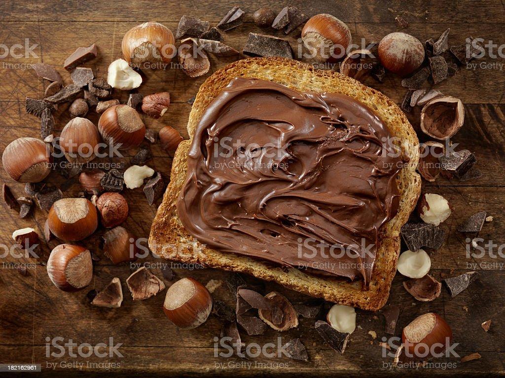 Chocolate Hazelnut Spread on Toast stock photo
