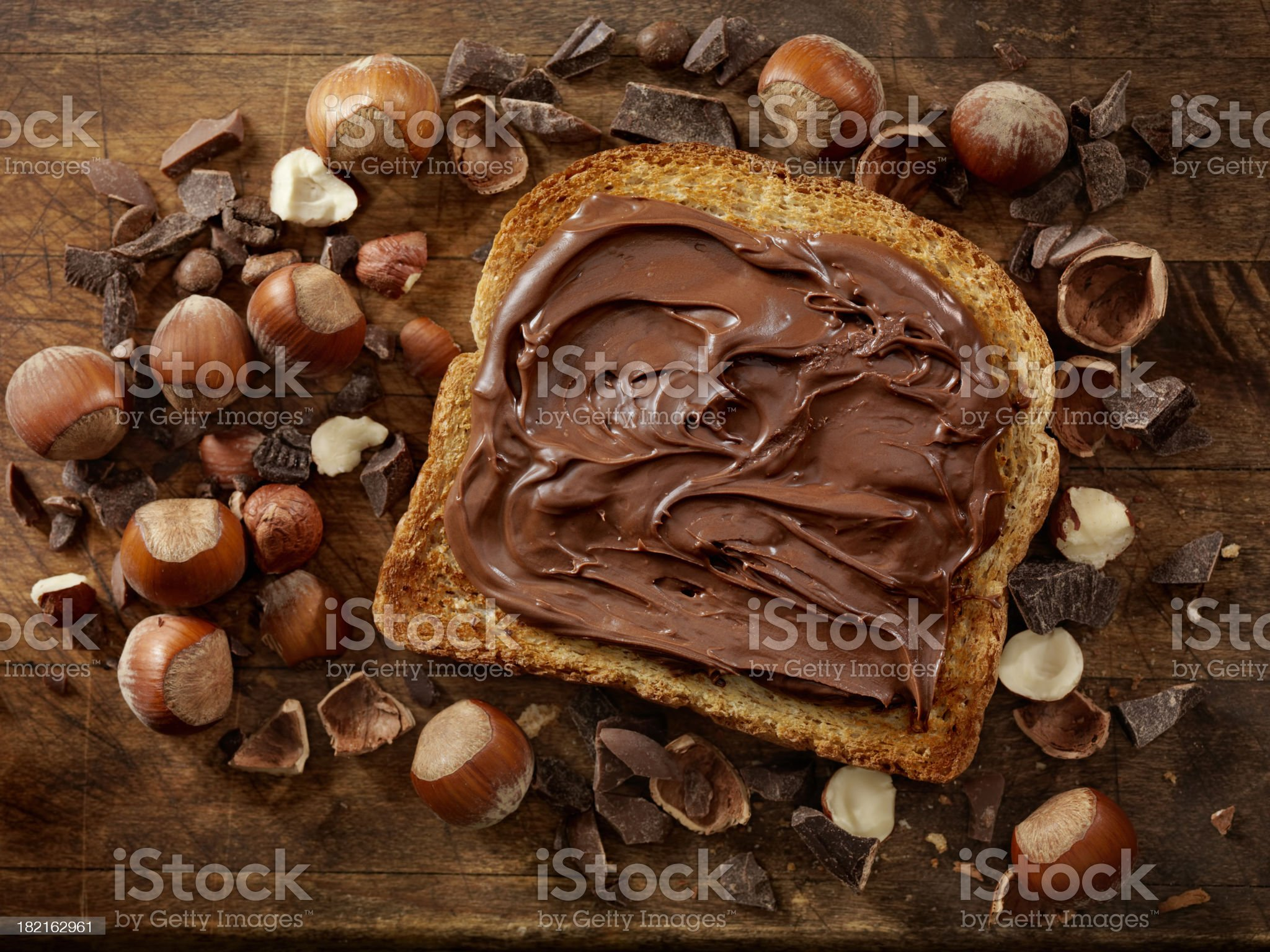 Chocolate Hazelnut Spread on Toast royalty-free stock photo