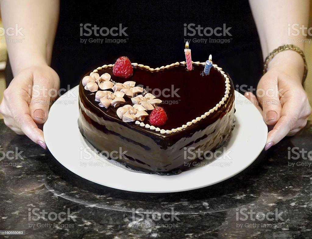 Chocolate Heart Cake royalty-free stock photo