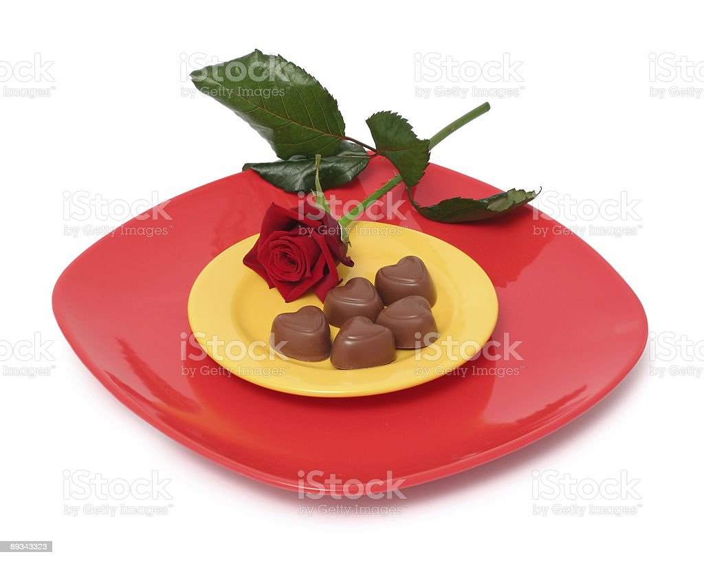 Chocolate hearts and rose royalty-free stock photo