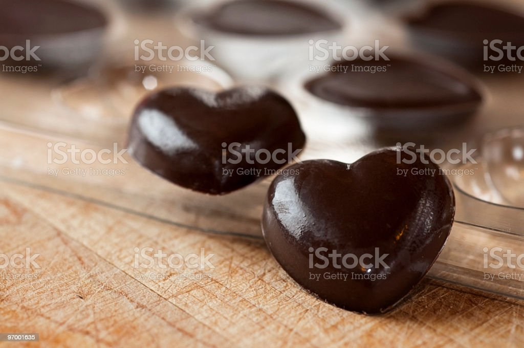 Chocolate Hearts Just Out of the Mold royalty-free stock photo