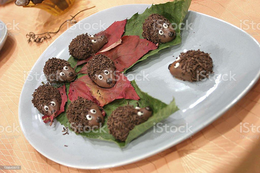 Chocolate hedgehogs royalty-free stock photo