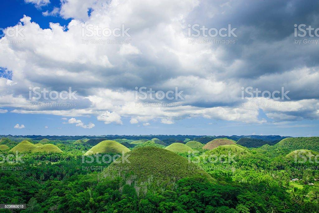 Chocolate hills in Philippines stock photo