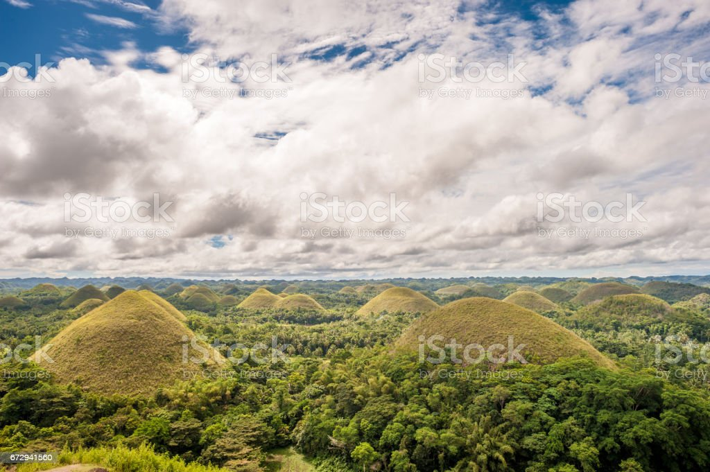 Chocolate hills landscape at Philippines stock photo