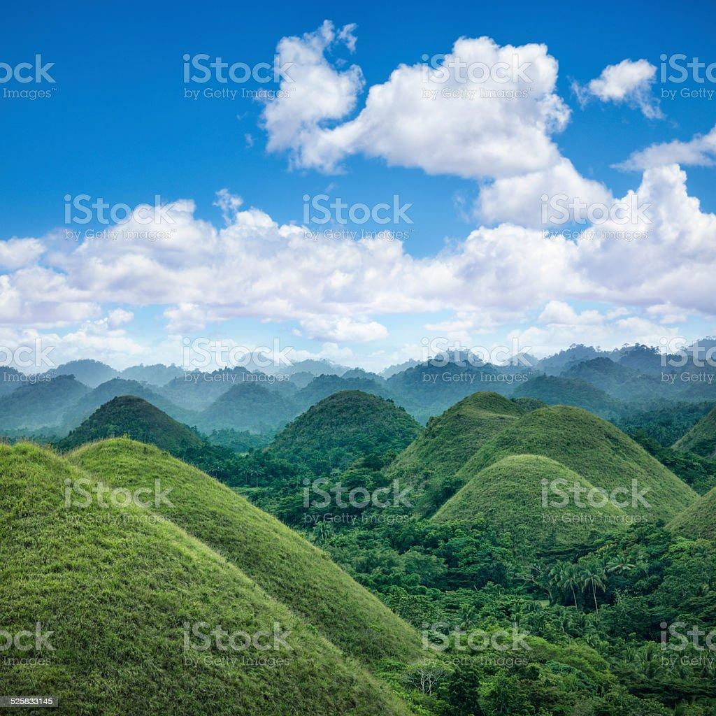 Chocolate hills of Bohol stock photo