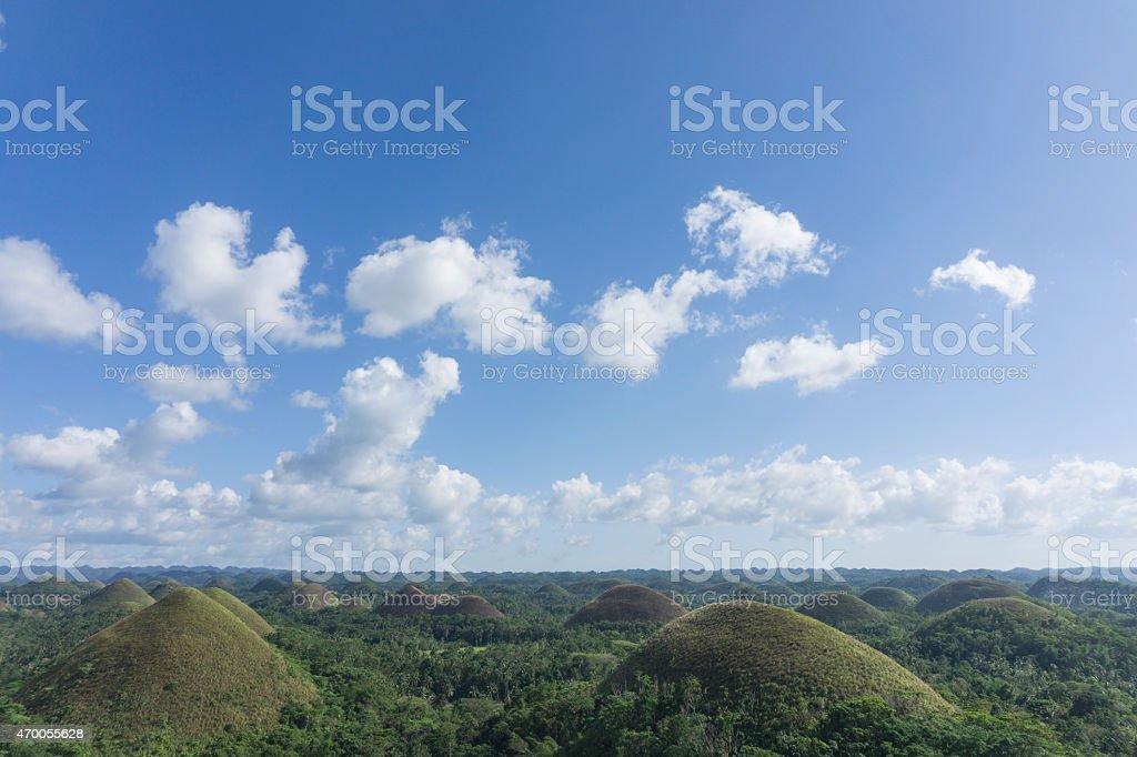Chocolate hills on the island of Bohol, Philippines stock photo