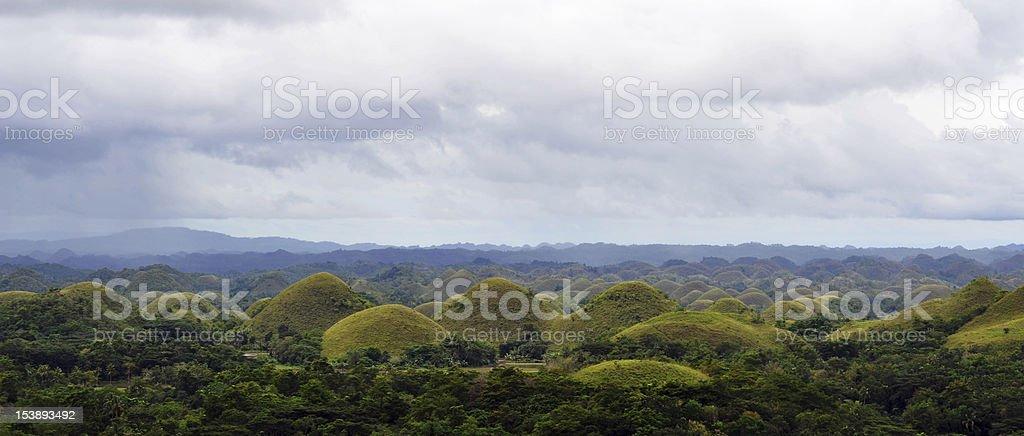 Chocolate hills panorama stock photo
